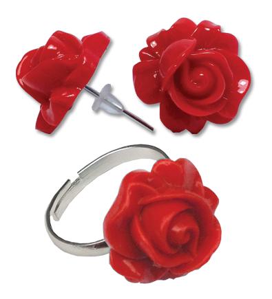 Cercei floare rosie cu inel
