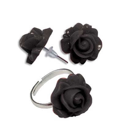 Cercei floare neagra cu inel