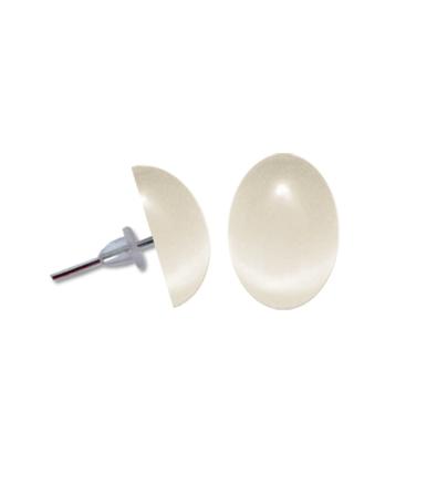 Cercei perla oval alb
