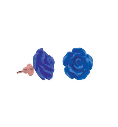 Cercei copii trandafir albastru inchis