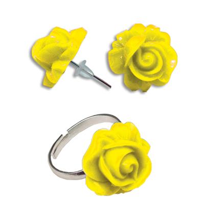 Cercei floare galbena cu inel