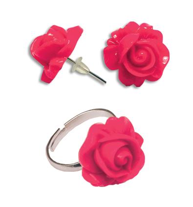 Cercei floare roz cu inel