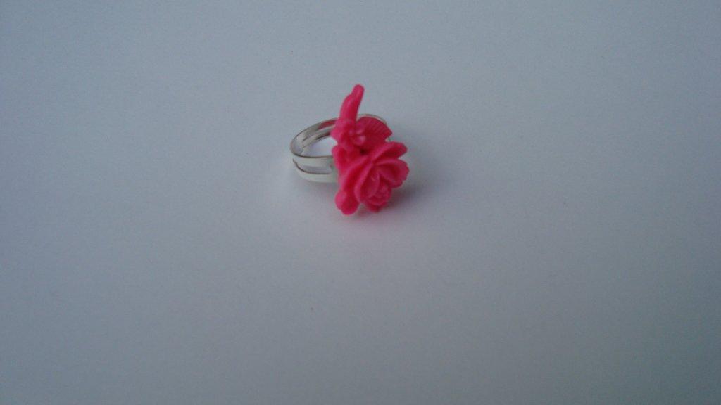 Inel reglabil floare roz