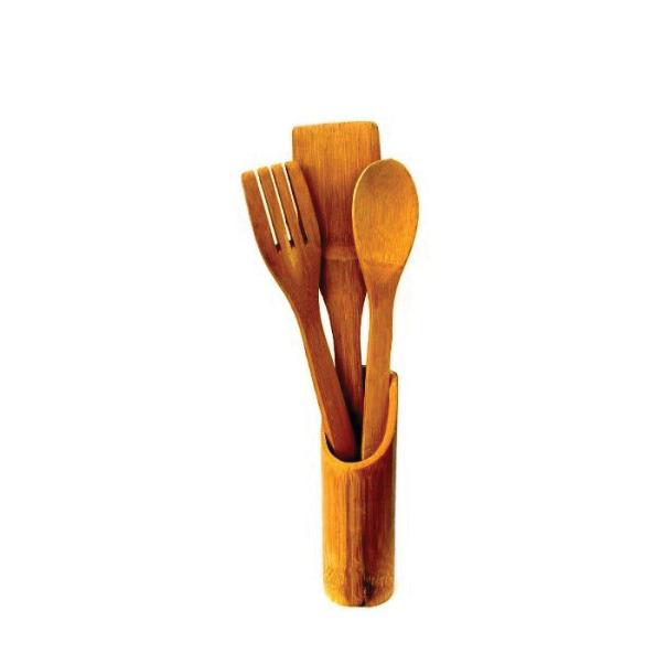 Set 3 linguri bambus cu suport