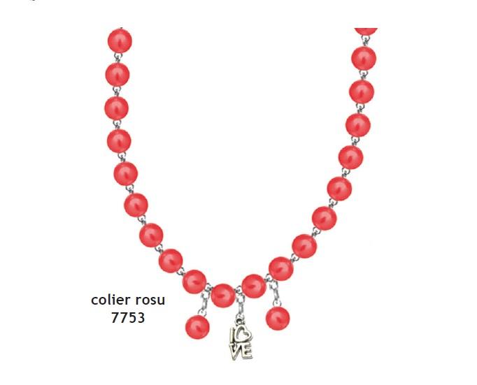 Colier perle rosu