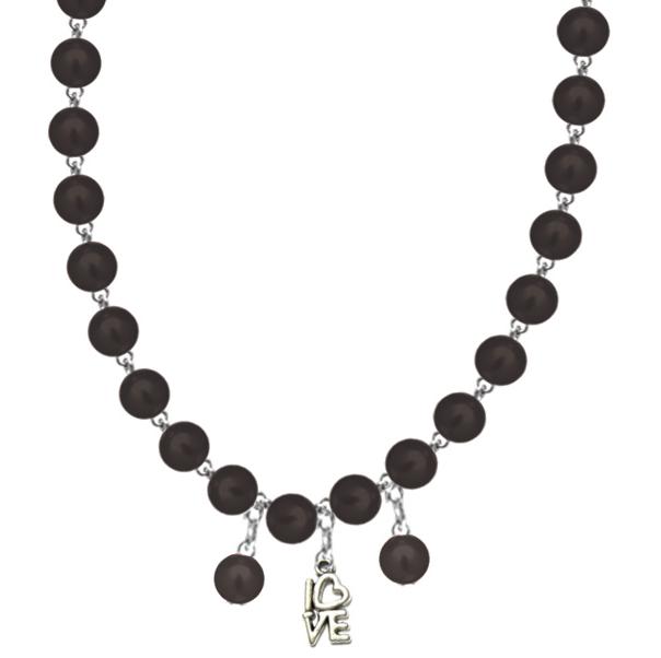 Colier perle negru