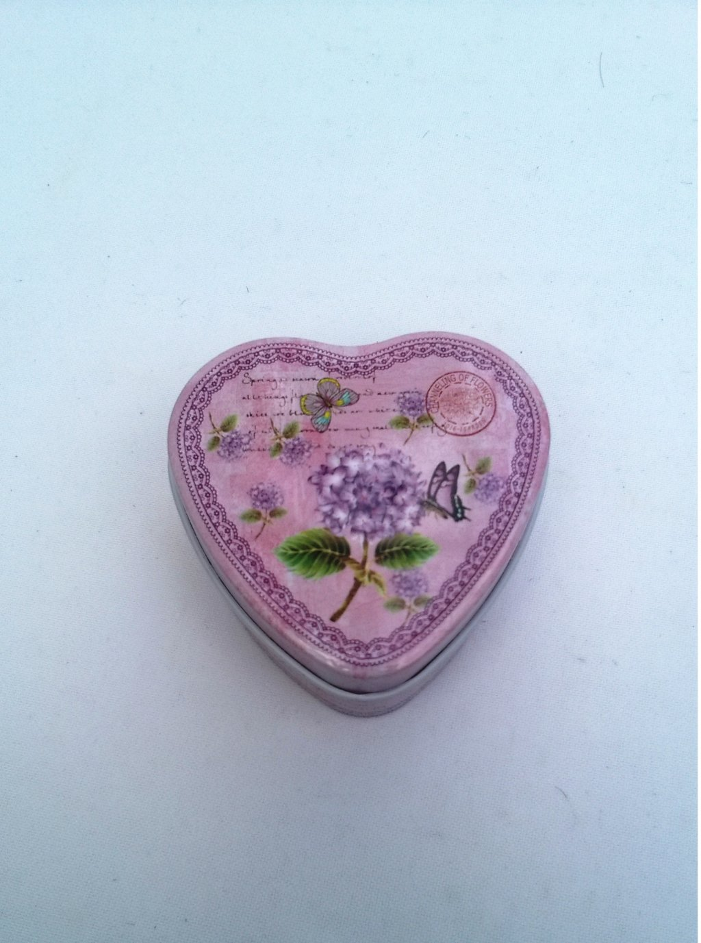 Cutie metalica bijuterii inima mov