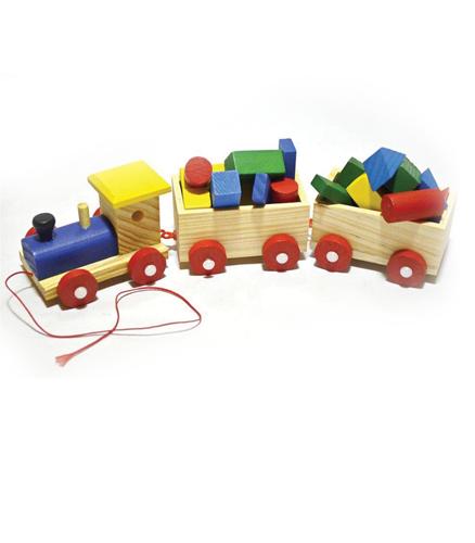 Trenulet din lemn pentru copii