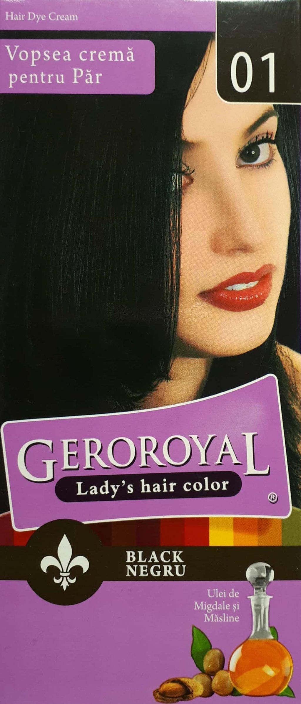 Vopsea crema pentru par Geroroyal Negru 01