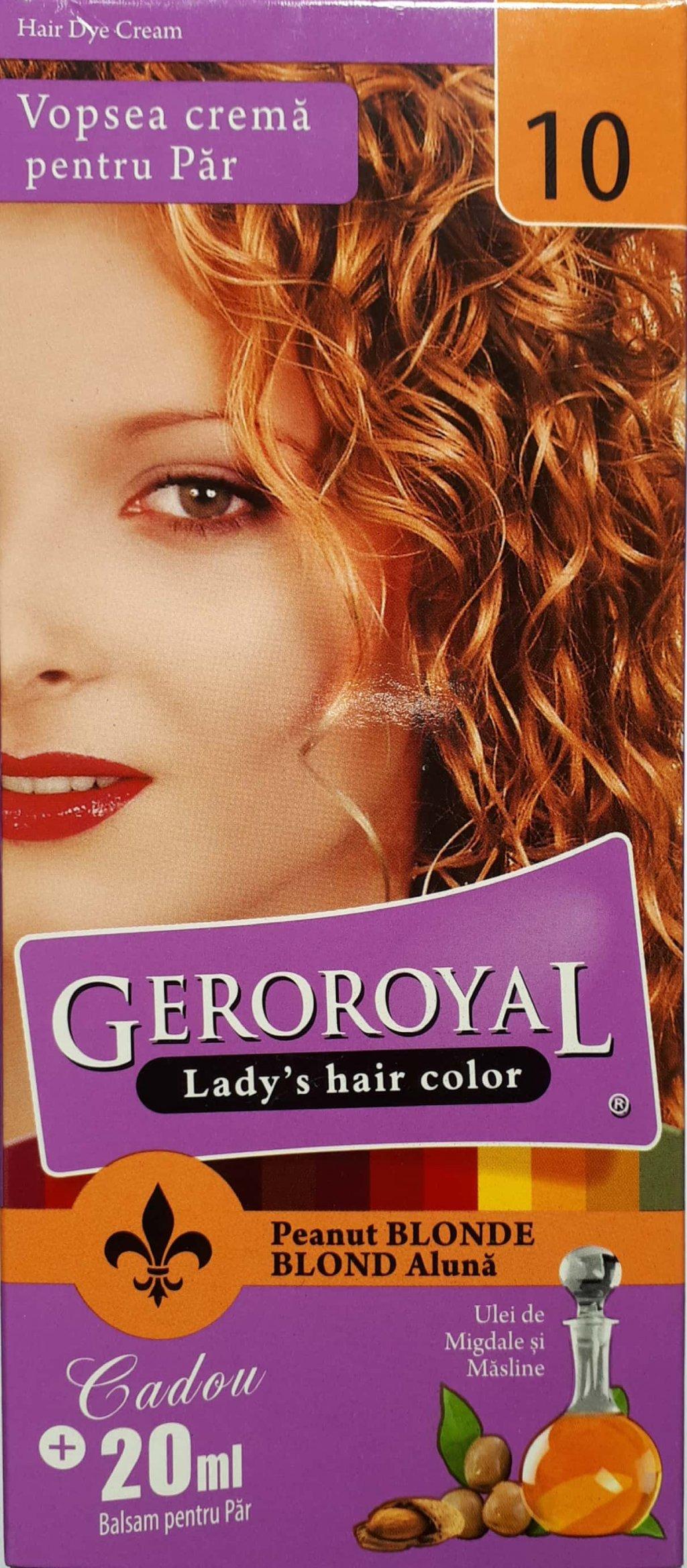 Vopsea crema pentru par Geroroyal  Blond Aluna 10