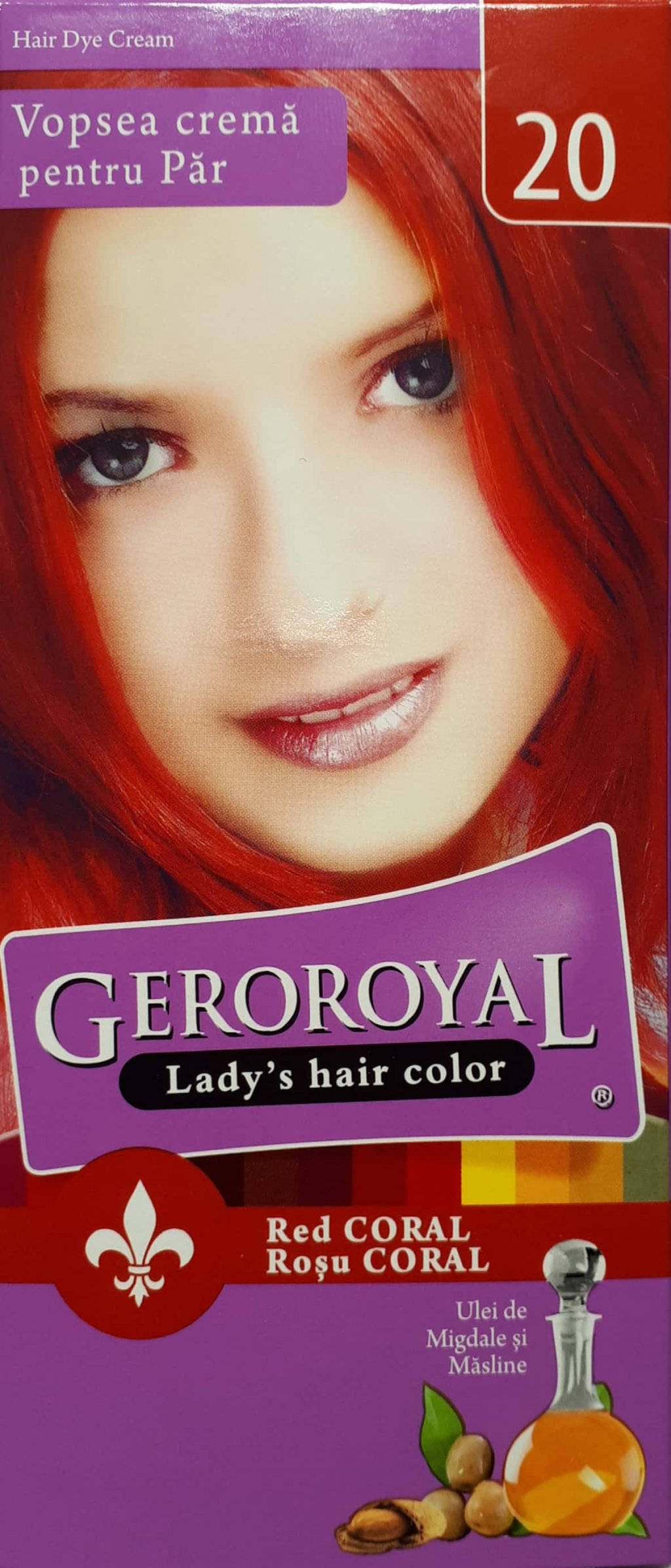 Vopsea crema de par Geroroyal Rosu Coral 20