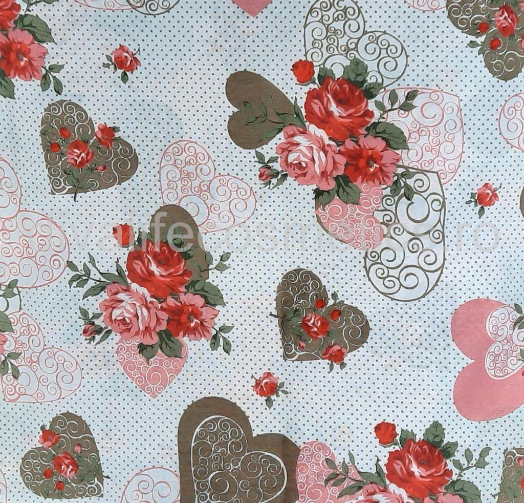 Cearsaf pat 160x210 cm Trandafir